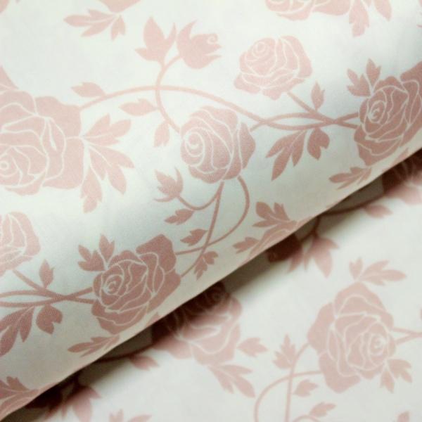 Bumbac dublu satinat trandafiri roz praf